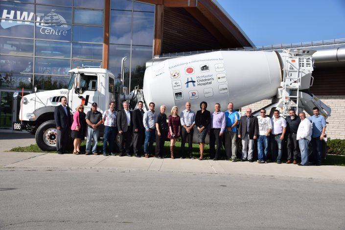 Dufferin Concrete employees with the paint the drum sponsorship group