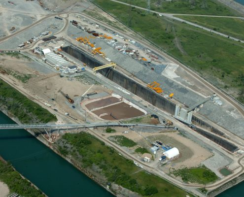Arial image of the Sir Adam Beck Niagara Tunnel project
