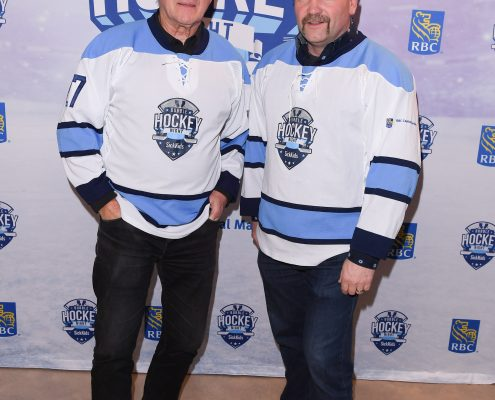Wendel Clark and Darryl Sittler during the Dufferin Concrete Bubble Hockey tournament