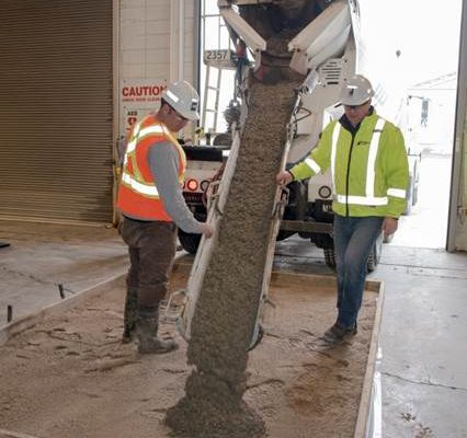 Fibre Pour demonstration with Dufferin concrete