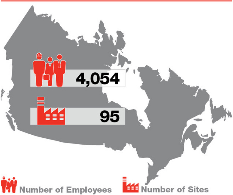 Map of concrete site and employees in Canada